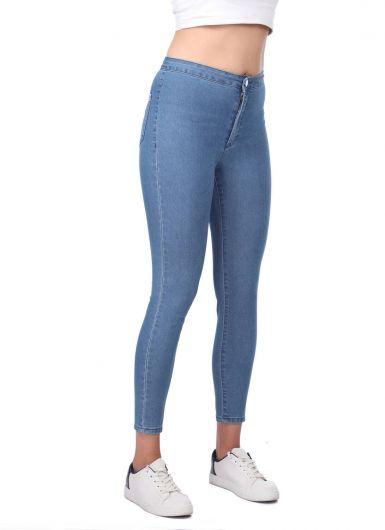 MARKAPIA WOMAN - بنطلون جينز سوبر سكيني أزرق نسائي (1)