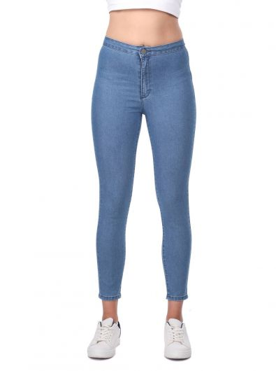 Women's Blue Super Skinny Jeans - Thumbnail