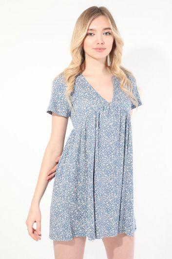Women's Blue V Neck Gathered Short Sleeve Dress - Thumbnail