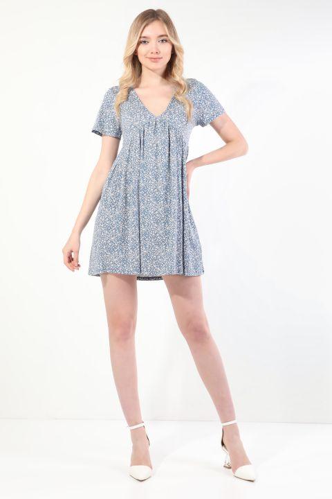 Женское синее платье с короткими рукавами и V-образным вырезом со сборками