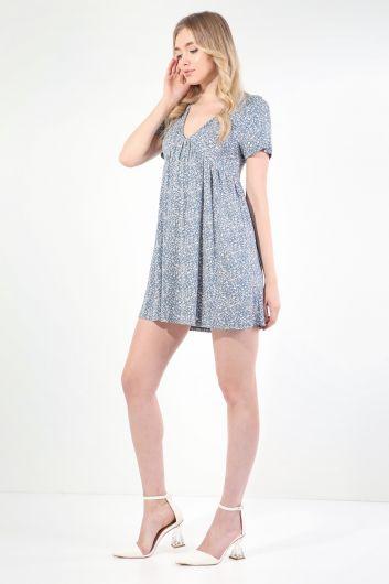 MARKAPIA WOMAN - Женское синее платье с короткими рукавами и V-образным вырезом со сборками (1)