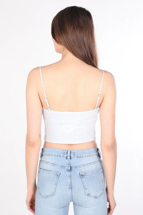 Женщины Bow Plaid Bustier Blue