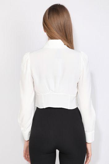 Women Bow Shirt Ecru - Thumbnail