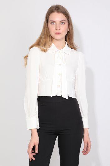 Женская рубашка с бантом, экрю - Thumbnail