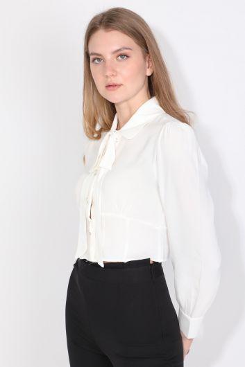 MARKAPIA WOMAN - Женская рубашка с бантом, экрю (1)