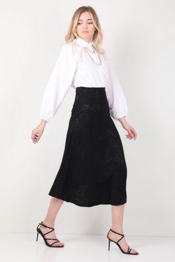 MARKAPIA WOMAN - تنورة نسائية غير متماثلة منقوشة لامعة باللون الأسود (1)