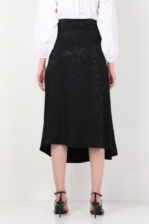 Women Shiny Patterned Asymmetric Skirt Black