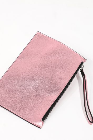 MARKAPIA WOMAN - Women's Pink Shiny Zipper Clutch Bag (1)
