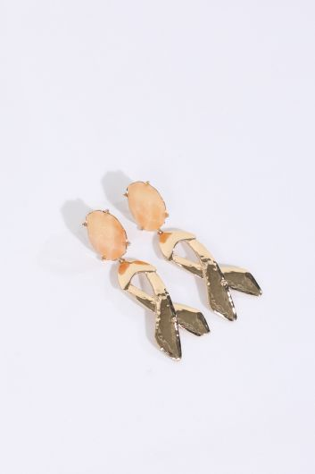 Women's Shiny Stone Dangle Earrings - Thumbnail