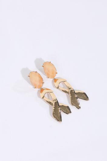 Женские серьги-подвески с блестящими камнями - Thumbnail