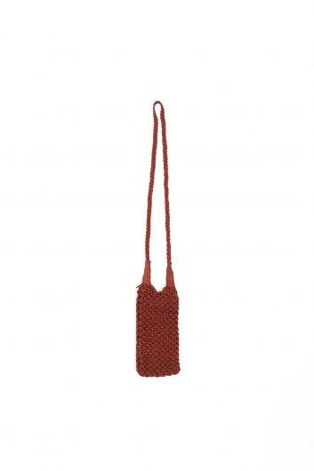 حقيبة هاتف مكرامية بنية نسائية - Thumbnail
