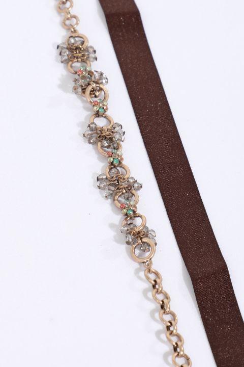 Women's Brown / Copper Combination Choker Necklace