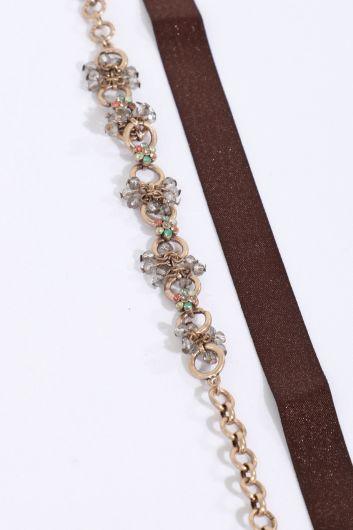 MARKAPIA WOMAN - Женское комбинированное колье-чокер коричневого и медного цветов (1)