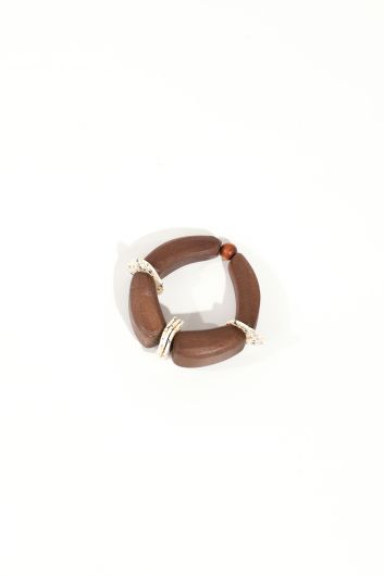 Women's Brown Wooden Elastic Bracelet - Thumbnail