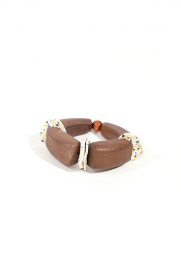 Женский коричневый деревянный эластичный браслет - Thumbnail