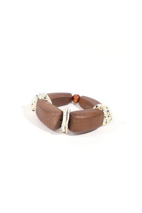Женский коричневый деревянный эластичный браслет