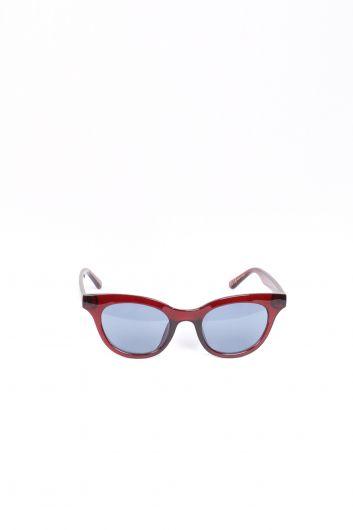 نظارة شمسية بيضاوية عنابي اللون للنساء - Thumbnail
