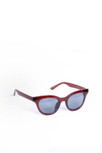 MARKAPIA WOMAN - نظارة شمسية بيضاوية عنابي اللون للنساء (1)