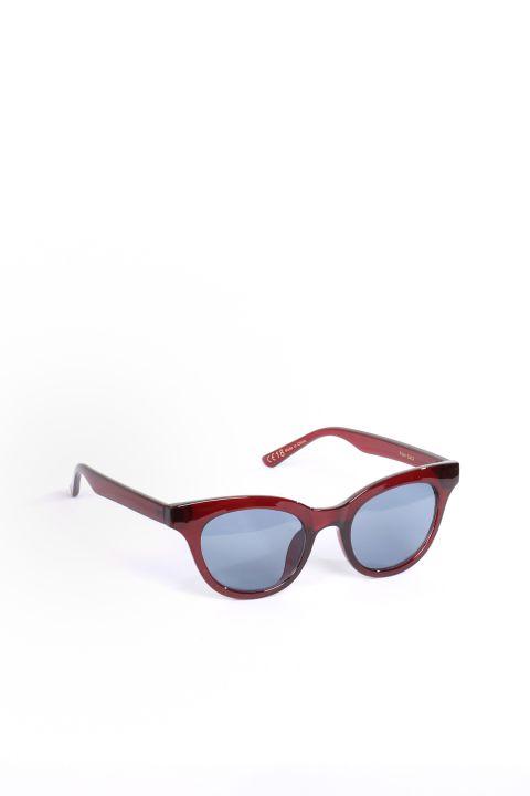 نظارة شمسية بيضاوية عنابي اللون للنساء