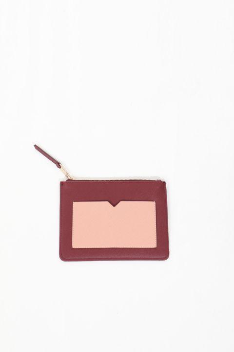 حقيبة يد صغيرة بجيب عنابي للسيدات