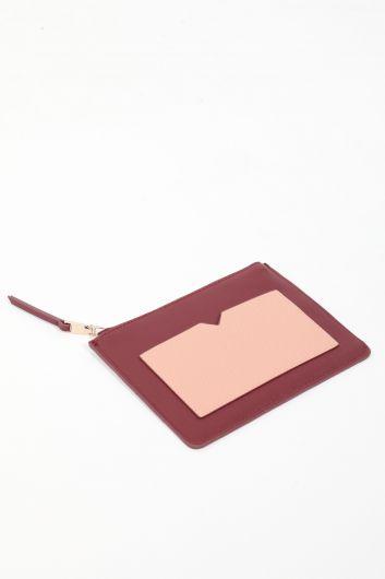 حقيبة يد صغيرة بجيب عنابي للسيدات - Thumbnail