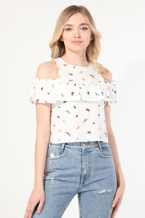 Women's Butterfly Frilly Strapped Blouse