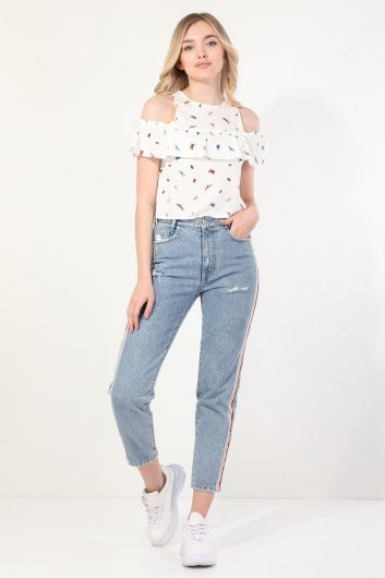 Women's Butterfly Frilly Strapped Blouse - Thumbnail
