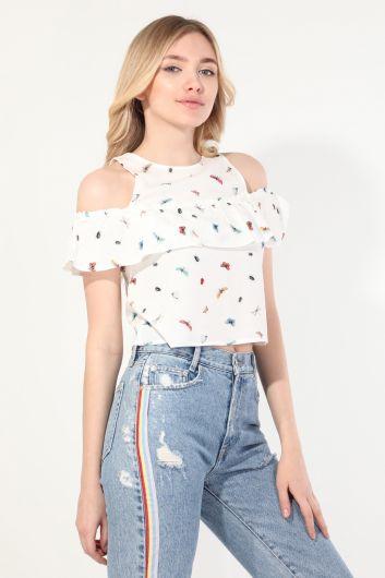 Женская блузка на бретелях с оборками и бабочками - Thumbnail