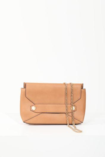 Women's Tan Flap Chain Strap Shoulder Bag - Thumbnail