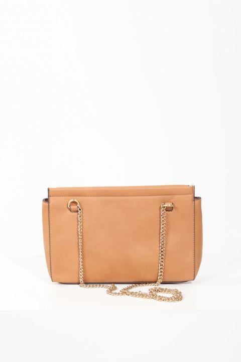 Women's Tan Flap Chain Strap Shoulder Bag