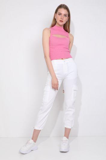 MARKAPIA WOMAN - Женские брюки-джоггеры с карманом карго белые (1)