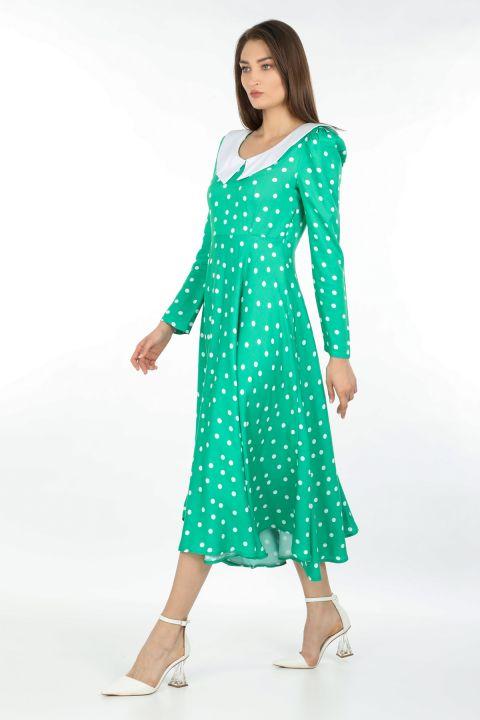 فستان طويل بولكا منقط بياقة نسائية لون أخضر