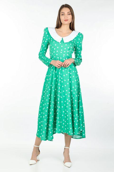 Женское длинное платье в горошек с подробным воротником, зеленое