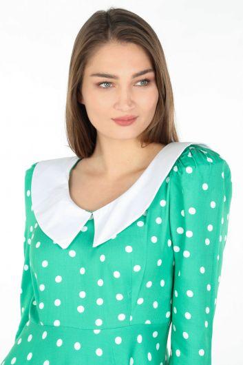 Женское длинное платье в горошек с подробным воротником, зеленое - Thumbnail