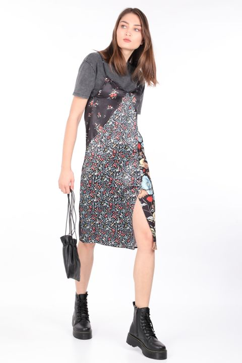 فستان حريمي من الساتان من قطعتينملون