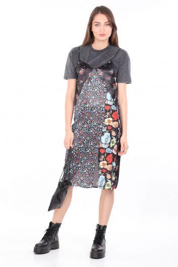 Women's 2-Pieces T-shirt Satin DressColorful - Thumbnail