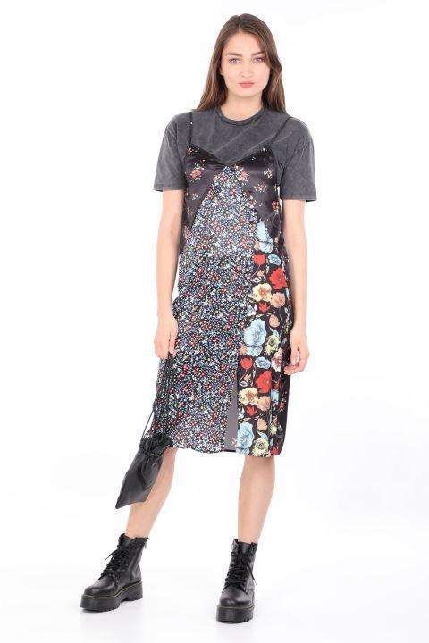 Women's 2-Pieces T-shirt Satin DressColorful