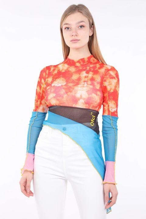 Women Color Batik Asymmetric Sheer Blouse
