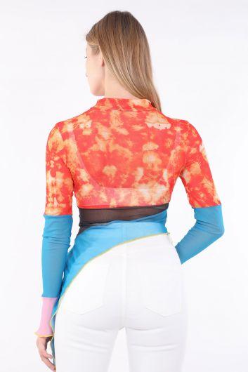 Women Color Batik Asymmetric Sheer Blouse - Thumbnail