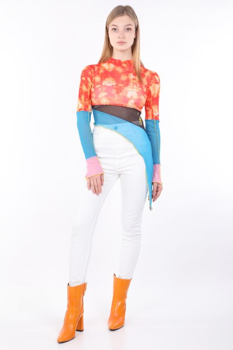 Женская асимметричная прозрачная блузка цвета батик