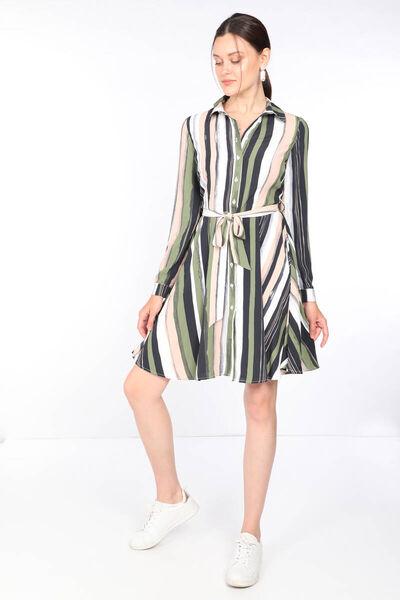 MARKAPIA WOMAN - فستان نسائي مخطط ملون بأزرار (1)