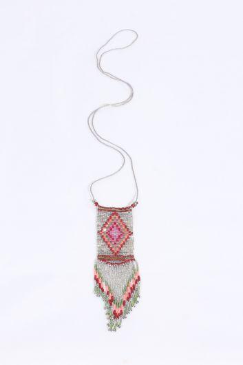Женское красочное ожерелье из бисера с кристаллами - Thumbnail