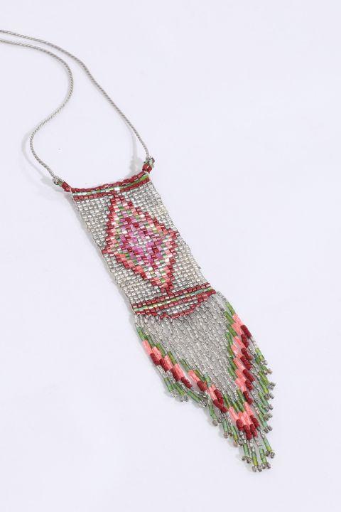 Женское красочное ожерелье из бисера с кристаллами