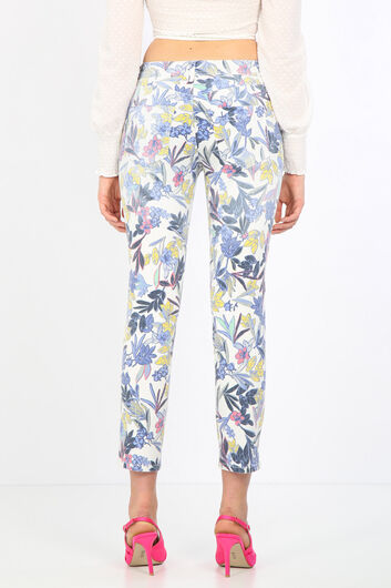 Women's Colorful Flower Patterned Jean Trousers - Thumbnail