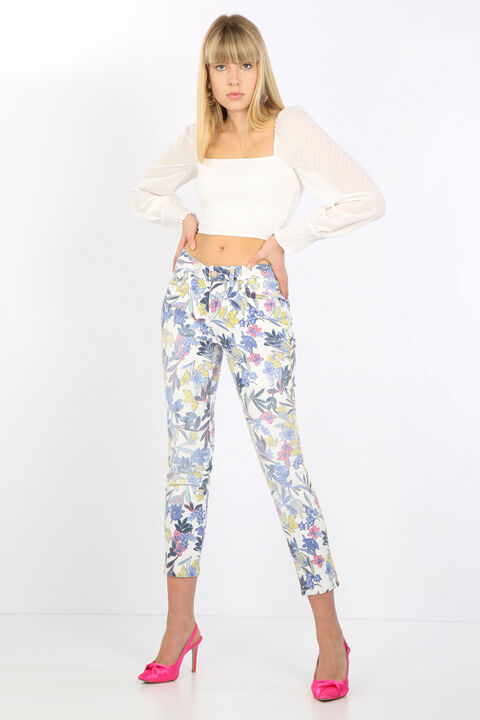 Women's Colorful Flower Patterned Jean Trousers