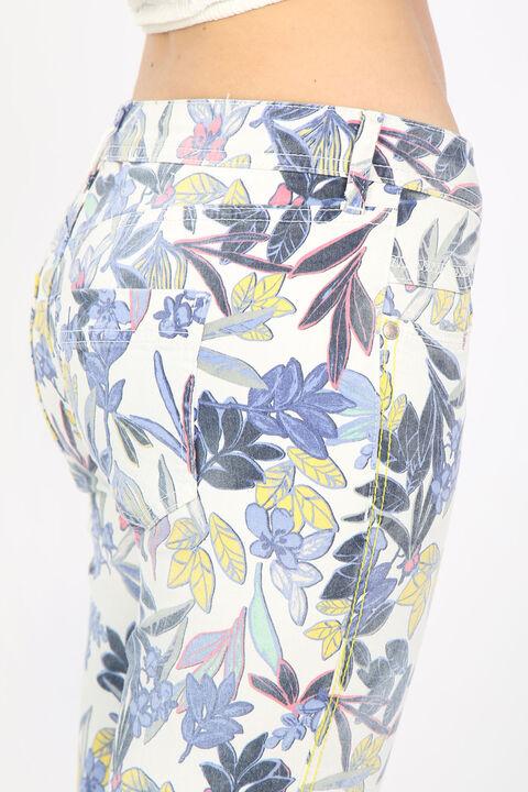 Женские джинсовые брюки с ярким цветочным узором