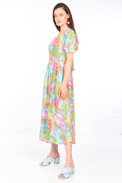 MARKAPIA WOMAN - فستان بياقة مربعة مزخرف بالزهور ملون للنساء (1)