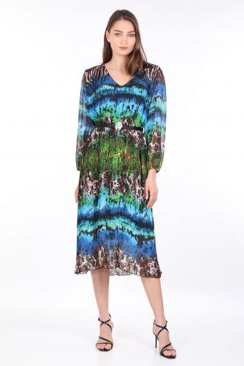 فستان نسائي من الشيفون بطيات بنمط ليوبارد ملون - Thumbnail