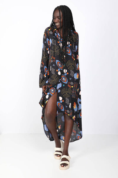 BLUE WHITE - فستان ماكسي نسائي ملون بأزرار بنمط مختلط (1)