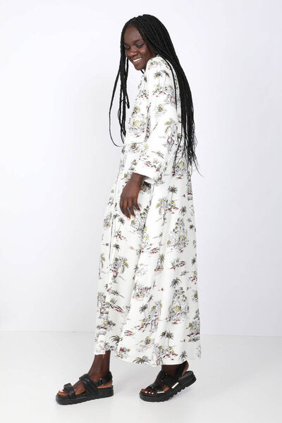BLUE WHITE - Women's Colorful Palm Patterned Maxi Dress (1)
